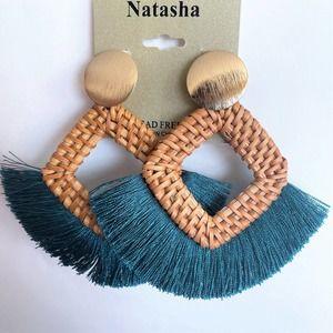 Natasha Basket Fringe Statement Earrings ~ NWT